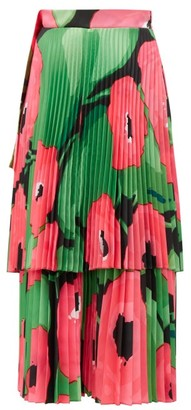 Richard Quinn Poppy Print Pleated Satin Midi Skirt - Womens - Pink Multi