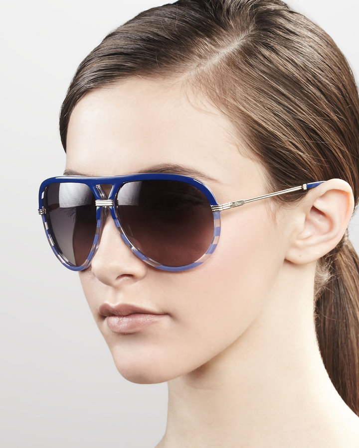 Christian Dior Croisette Striped Aviator Sunglasses, Blue