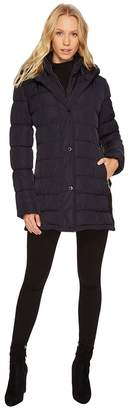 Calvin Klein Hooded Puffer Mid-Length with Knit Side Women's Coat