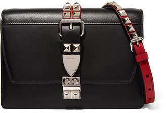 Prada Studded Leather Shoulder Bag - Black