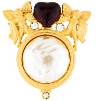 Givenchy Faux Pearl & Crystal Angel Brooch