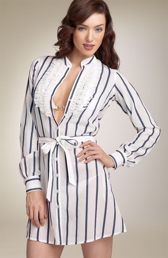 Jessica Simpson Stripe Shirtdress Cover-Up