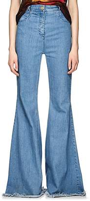 Balmain Women's Raw-Hem Flared Jeans - Blue