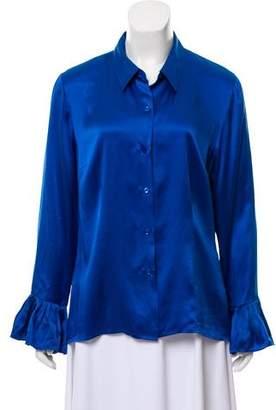 Oscar de la Renta Oscar by Silk Button Up Shirt