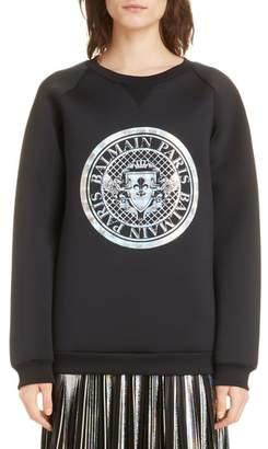 Balmain Hologram Coin Logo Neoprene Sweatshirt