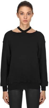 Unravel Cutout Shoulders Cotton Sweatshirt
