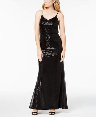 Calvin Klein Draped Sequin Gown