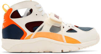 Nike White and Orange Air Trainer Huarache QS Sneakers
