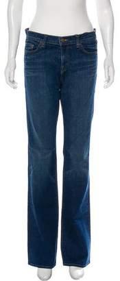 J Brand Distressed Mid-Rise Wide-Leg Jeans
