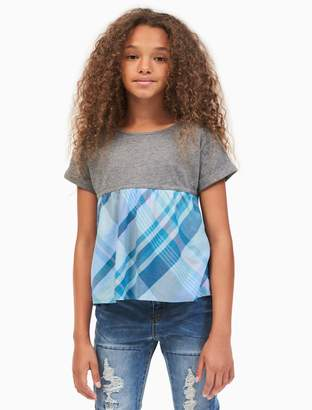 Calvin Klein girls plaid flounce top