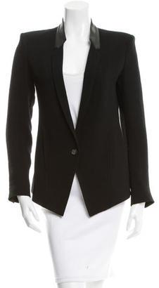 Helmut Lang Leather-Trimmed Notch-Lapel Blazer $95 thestylecure.com