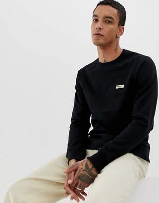 Nudie Jeans Samuel logo crew neck sweat in black