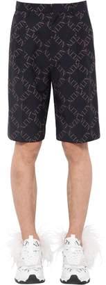 Valentino Logo Printed Wool Blend Shorts