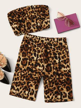 Shein Leopard Print Bandeau Top and Cycling Shorts Set