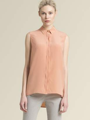 DKNY Sleeveless Button-Up With Step Hem