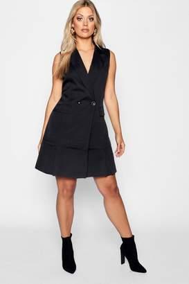 boohoo Plus Double Breasted Sleeveless Blazer Dress