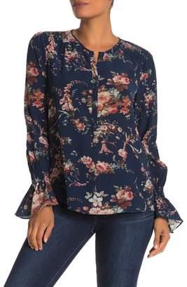 Go Silk Go by Flared Cuff Long Sleeve Silk Blouse