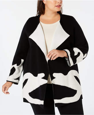 Alfani Plus Size Abstract-Pattern Double-Knit Sweater Coat