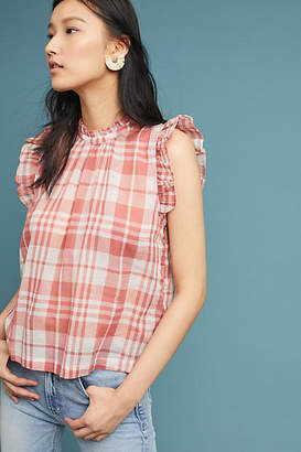 Isabella Collection Sinclair Plaid Ruffle-Sleeve Top