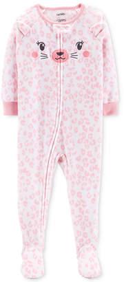 Carter's Carter Baby Girls Printed Cat-Face Footed Fleece Pajamas