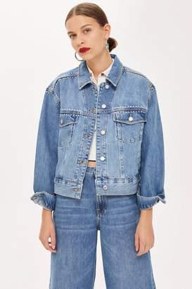 Topshop Studded Oversized Denim Jacket