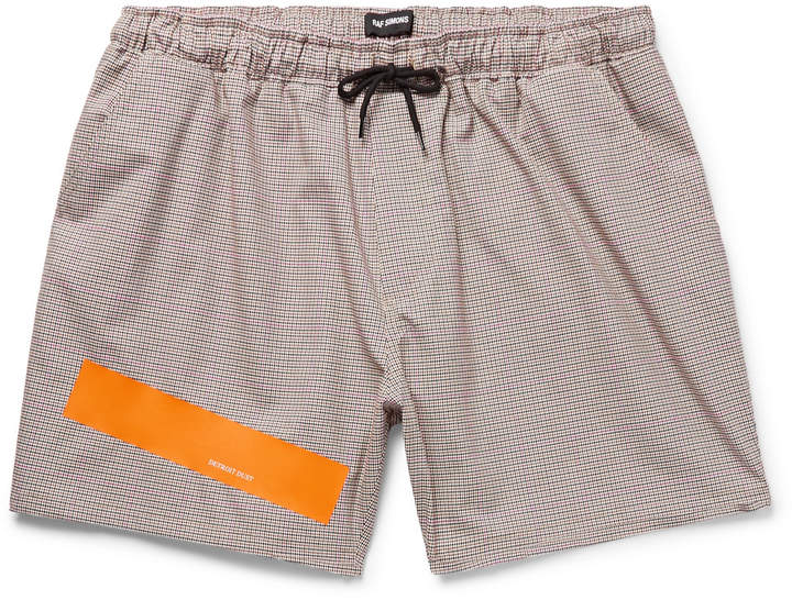Printed Prince of Wales Checked Stretch-Cotton Drawstring Shorts