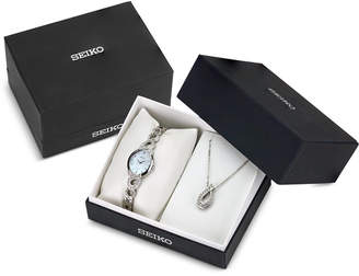 Seiko Women's Ladies Crystal Jewelry Solar Stainless Steel Bracelet Watch & Necklace Box Set 21mm SUP367 $295 thestylecure.com