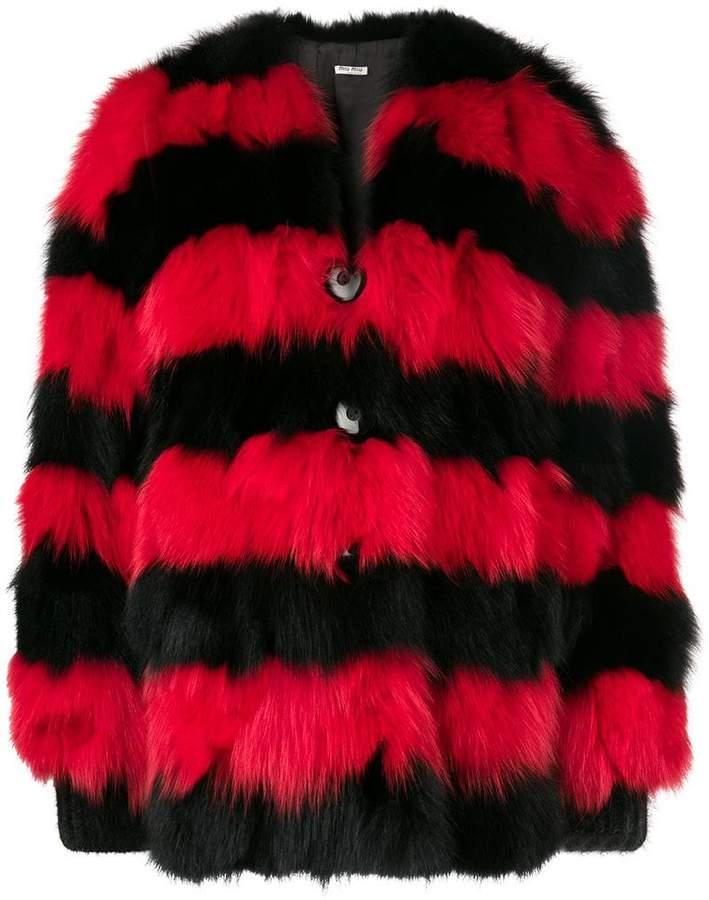 Miu Miu striped fur coat