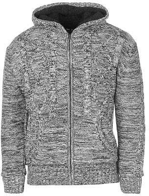 Lee Cooper Mens Hooded Lined Knitted Cardigan Knitwear Jumper Top Long Sleeve