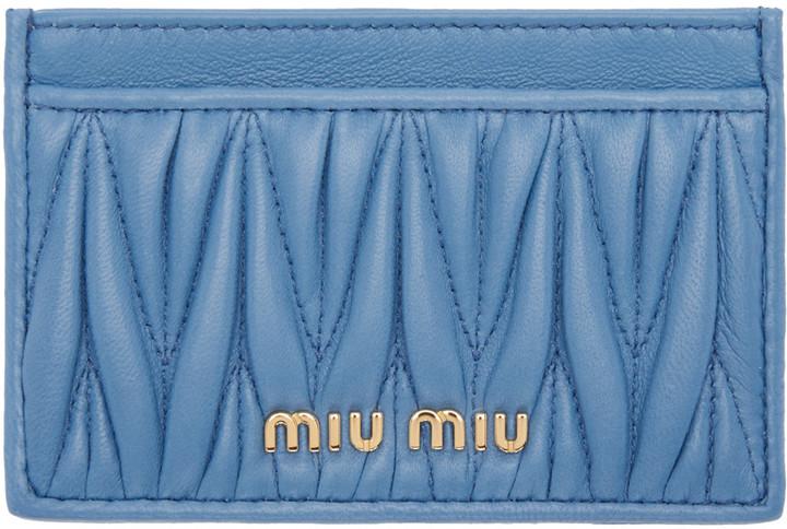 Miu MiuMiu Miu Blue Matelassé Card Holder