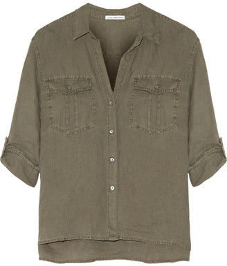 James Perse - Linen Shirt - Army green $185 thestylecure.com