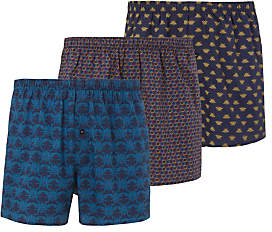 John Lewis & Partners Bee Print Woven Cotton Boxers, Pack of 3, Navy/Multi