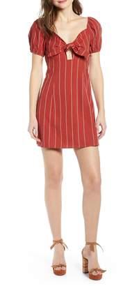 J.o.a. Stripe Tie Front Cotton & Linen Mini Dress