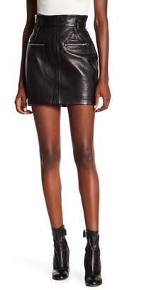 Frame Moto Mini Leather Skirt