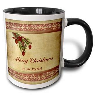 3dRose Christmas Tree Decorated Branch With Red Ornaments, Flowers, and Ribbons, To My Cousin, Two Tone Black Mug, 11oz