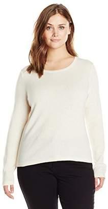 Lark & Ro Women's Plus-Size 100% Cashmere Slim-Fit Crew Neck Sweater