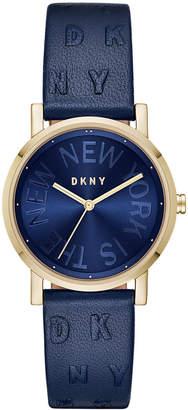DKNY Women SoHo Ocean Blue Leather Strap Watch 34mm