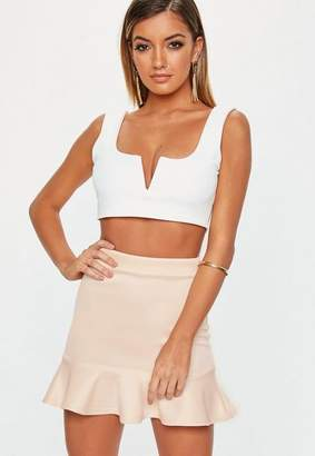 Missguided Petite Nude Frill Hem Mini Skirt