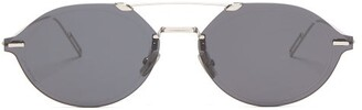 Christian Dior Sunglasses - Diorchroma3 Oval Metal Sunglasses - Mens - Silver