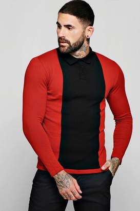 boohoo Muscle Fit Long Sleeved Colour Block Polo