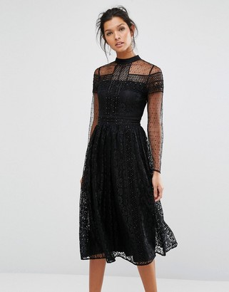 Frock and Frill High Neck Lace Midi Dress with Bead Detail $203 thestylecure.com