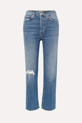 RE/DONE Ultra High Rise Stove Pipe Comfort Stretch Cropped Distressed Straight-leg Jeans - Mid denim
