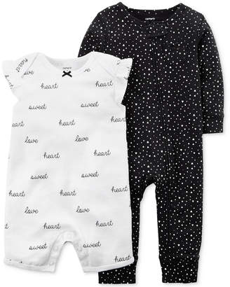 Carter's 2-Pc. Printed Cotton Romper & Coverall Set, Baby Girls