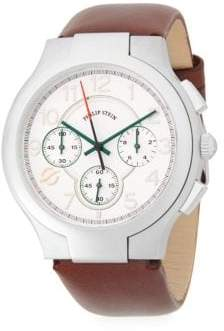 Philip Stein Teslar Classic Stainless Steel Chronograph Leather-Strap Watch