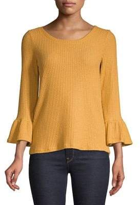 Lord & Taylor Waffle-Knit Bell-Sleeve Top