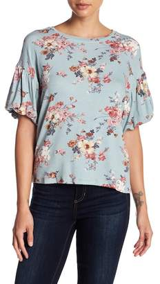 Bobeau Patterned Bubble Sleeve Tee