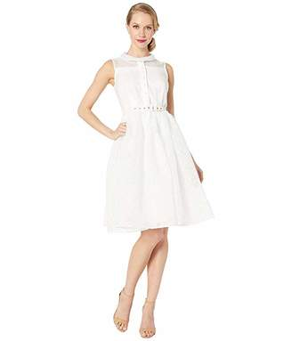 Unique Vintage White Dotted Georgia Swing Dress