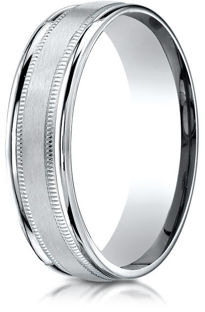Benchmark Palladium 6mm Comfort-Fit Satin-Finished Wedding Band with Milgrain Carved Design