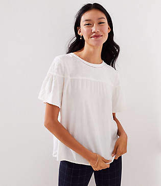 LOFT Floral Embroidered Cutout Top