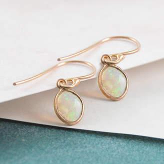 Embers Opal October Birthstone Gold/Rose Gold Drop Earrings